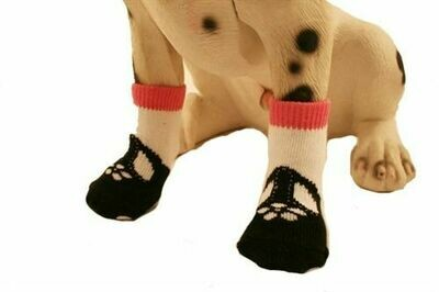 PUPPE LOVE SOCKS MARY JANE PINK BLK WHITE NONSLIP MEDIUM FOR SMALL DOGS