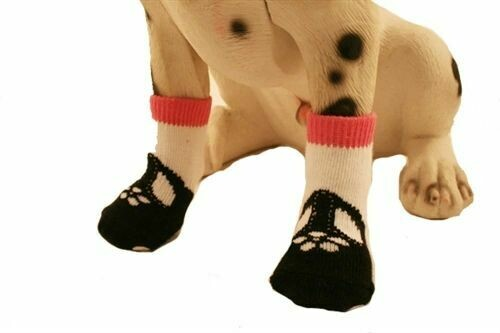 PUPPE LOVE MARY JANE SOCKS PINK BLK WHITE NONSLIP SIZE L FOR SMALL DOG