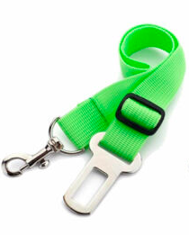 THE DOGGIE STORE OUTLET ADJUSTABLE CAR SEATBELT NEON ORANGE, GREEN, BLUE