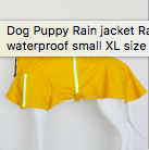 THE DOGGIE STORE OUTLET RAINCOAT TOY DOG LARGE YELLOW REFLECTIVE