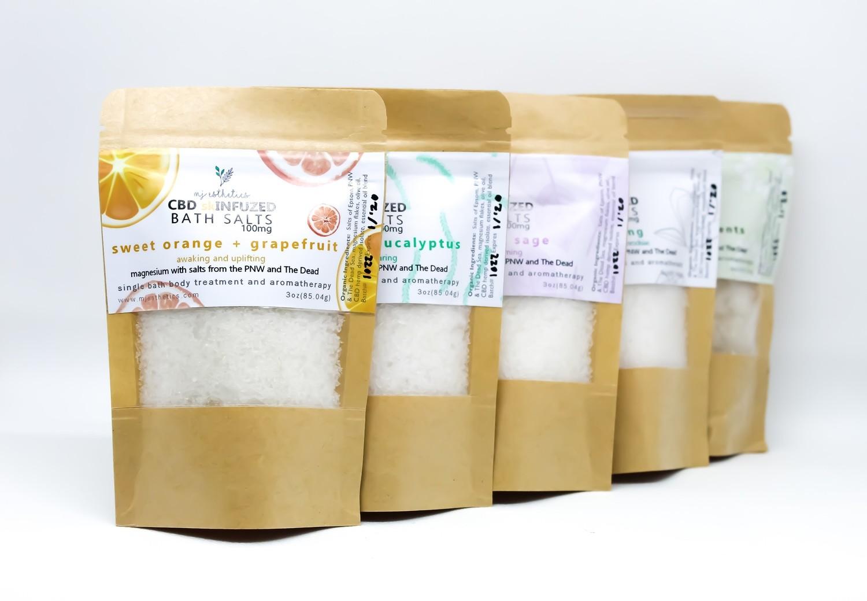 MJ Esthetics CBD Bath Salts - Peppermint Eucalyptus