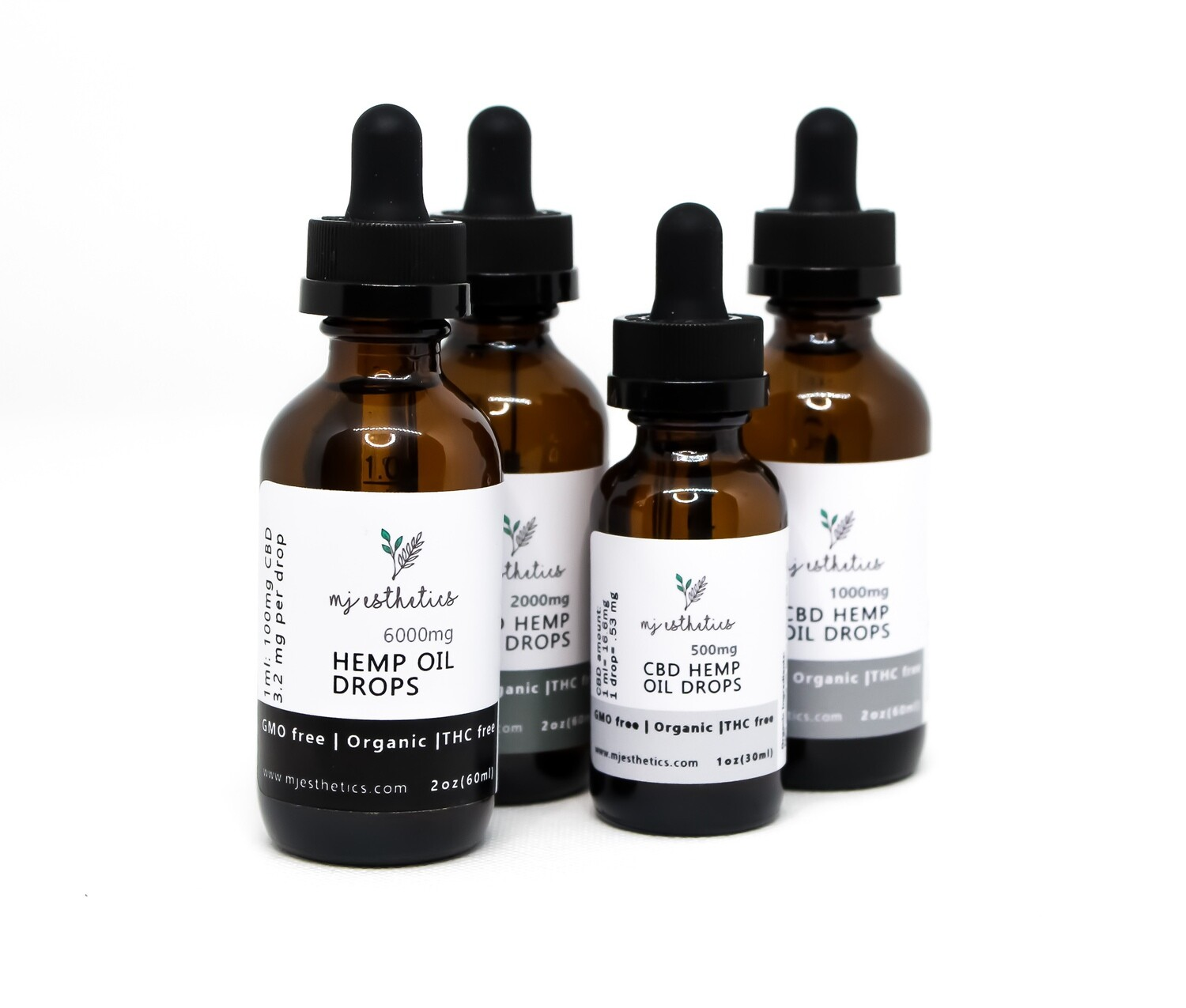 MJ Esthetics CBD Oil Drops 2000 MG - THC Free