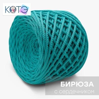 Полиэфирный шнур c сердечником. Цвет: Бирюза