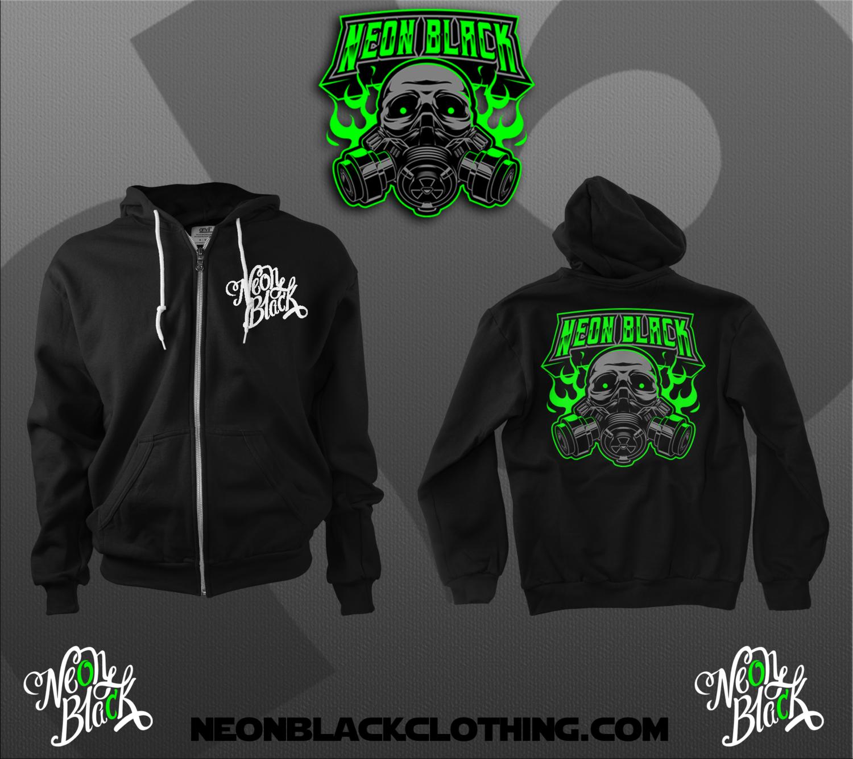 Neon Black Org - Logo Zip Up Hoodie