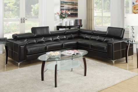 2 PC. COLIN BLACK BONDED LEATHER SECTIONAL SET