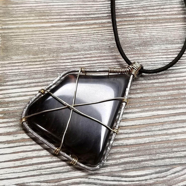 Mahogany Obsidian Pendant Necklace 00000