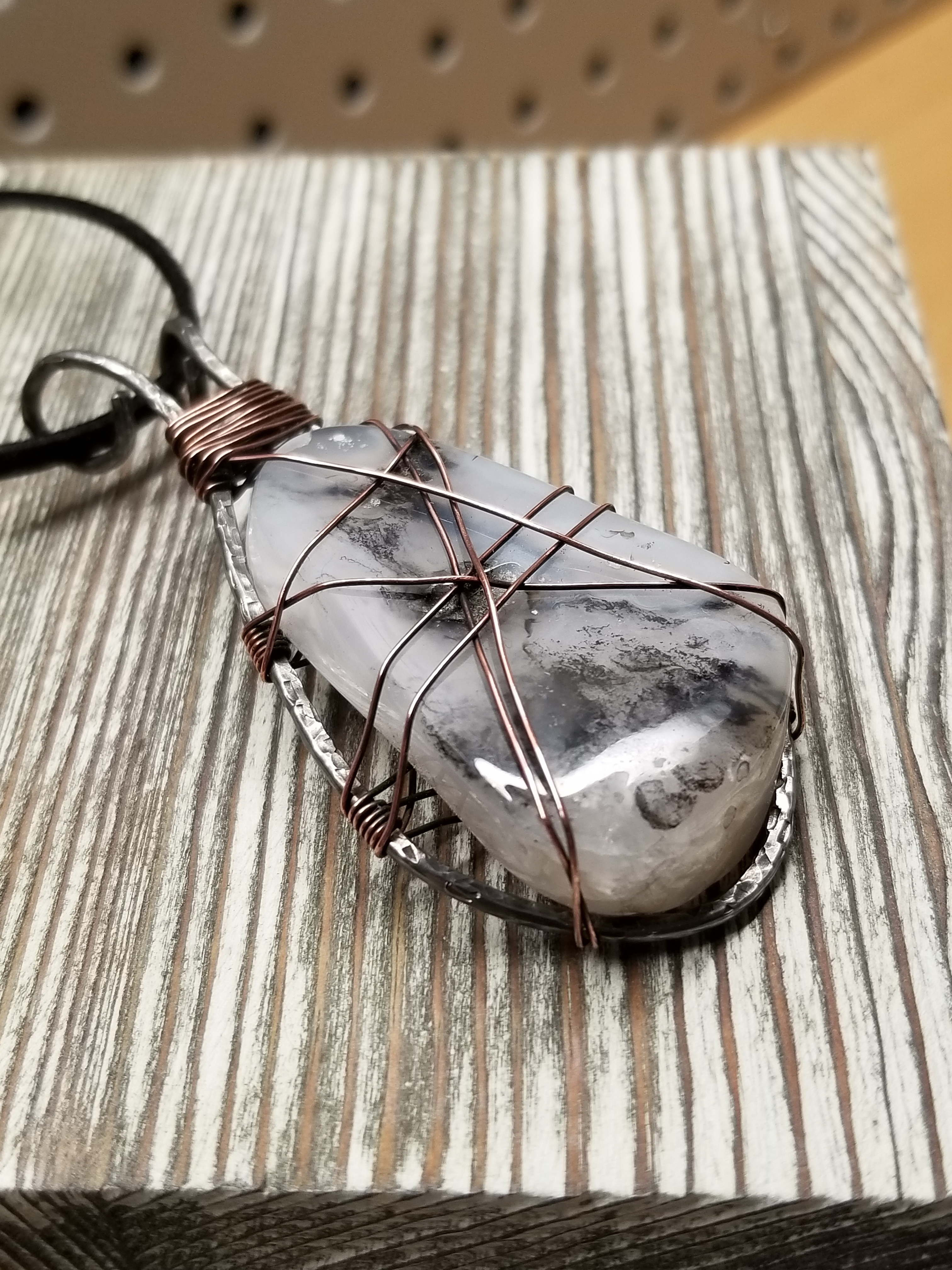 White, Black, and Gray Agate Pendant Necklace
