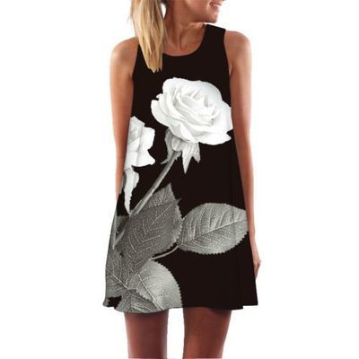 Women Summer Chic 3D Print Vintage Boho Bohemian Dresses Sundresses Beach Dress