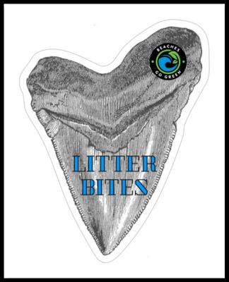 Litter Bites Shark Tooth Sticker