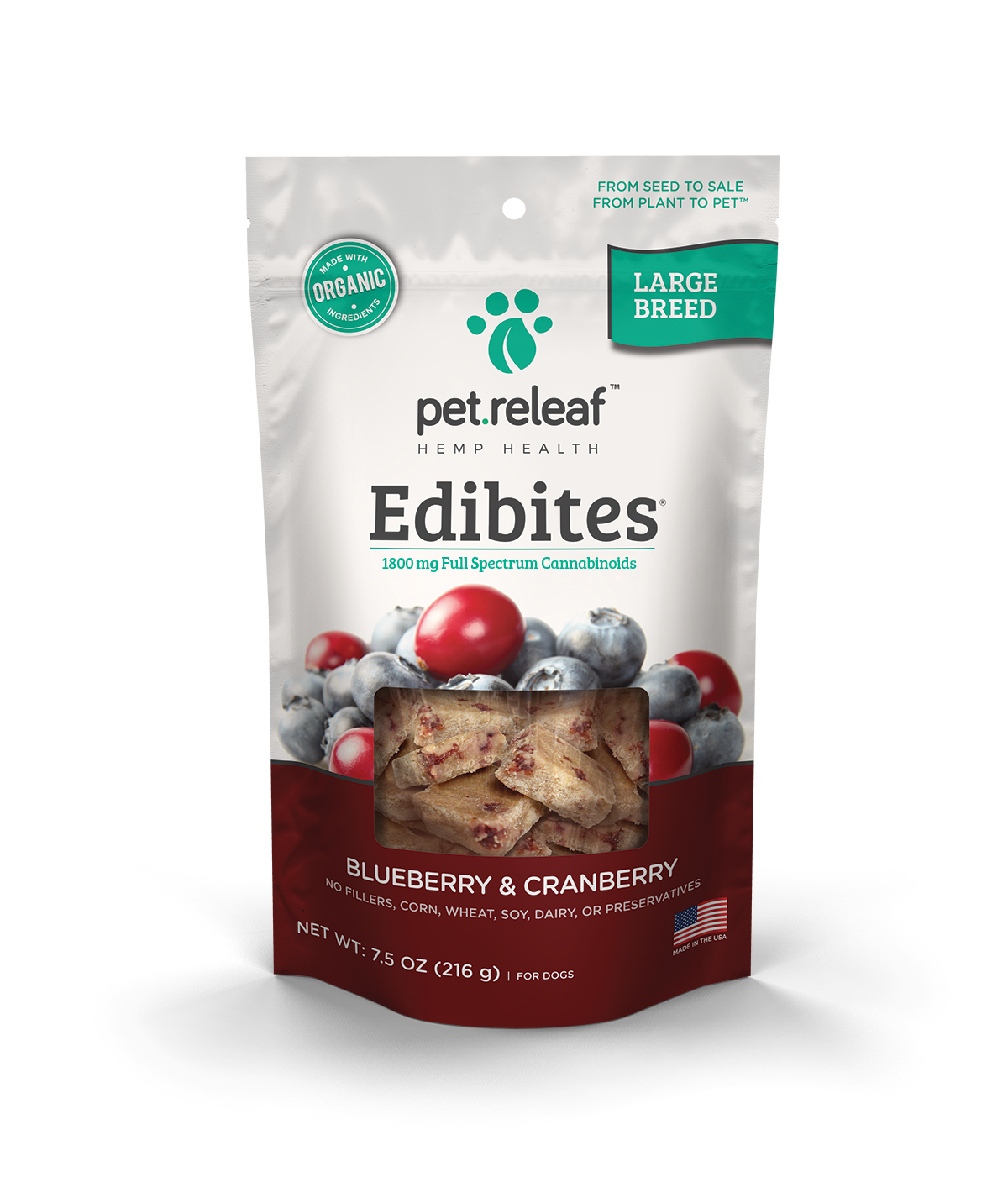 Pet Releaf Hemp Large Breed Edibites Blueberry & Cranberry
