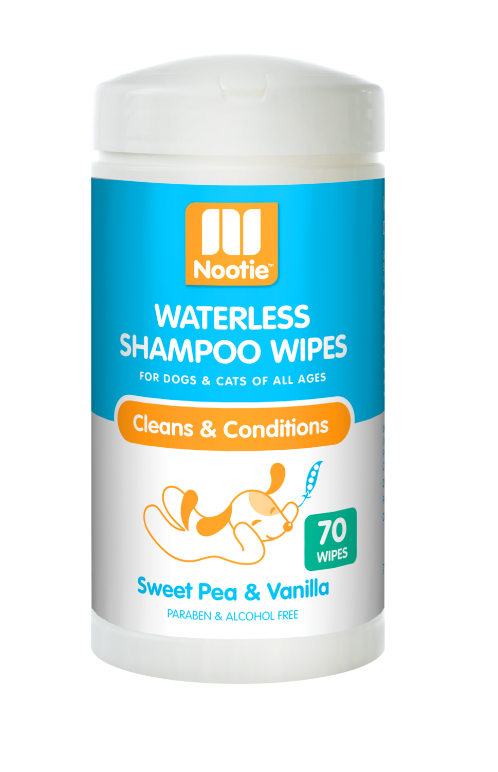 Nootie Waterless Shampoo Wipes Sweet Pea & Vanilla 70ct.