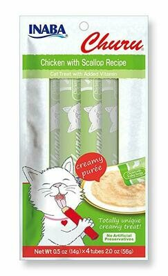 INABA Churu Creamy Puree In A Tube Chicken w/Scallop 4 Tubes