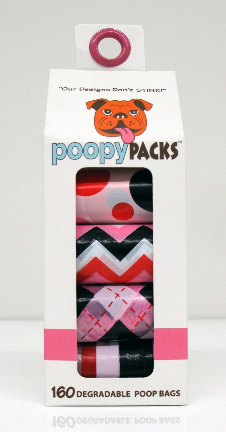 Metro Paws Poopy 8 Roll Pack 160ct Pink