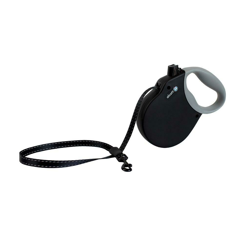 Alcott Small Retractable Reflective Black Leash 16'