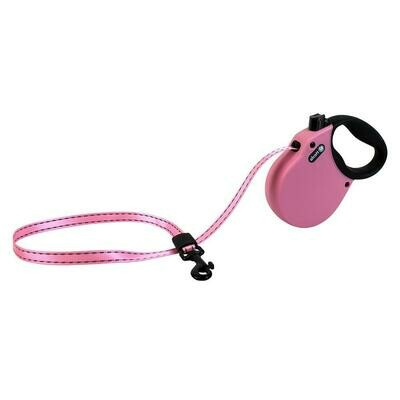 Alcott XSmall Retractable Reflective Pink Leash 10'
