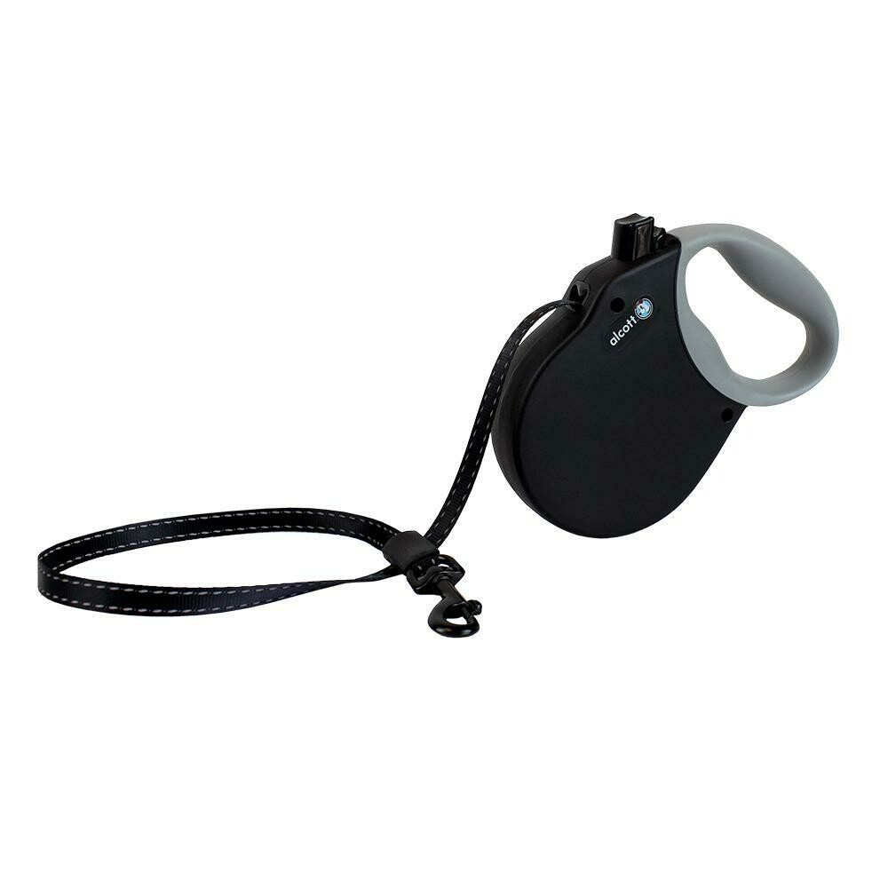 Alcott Medium Retractable Reflective Black Leash 16'