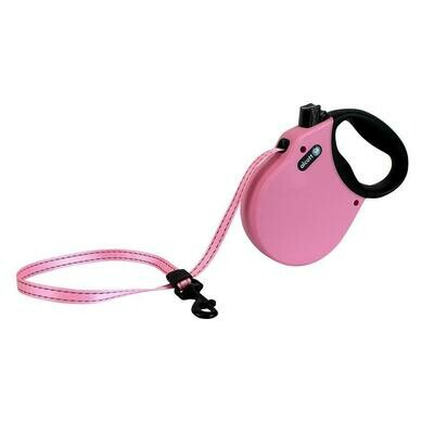 Alcott Medium Retractable Reflective Pink Leash 16'
