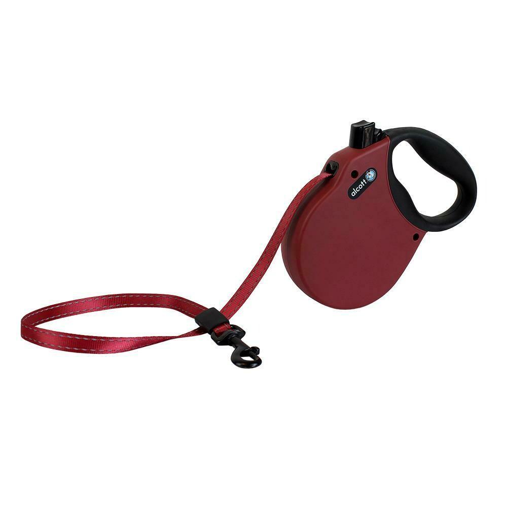Alcott Medium Retractable Reflective Red Leash 16'