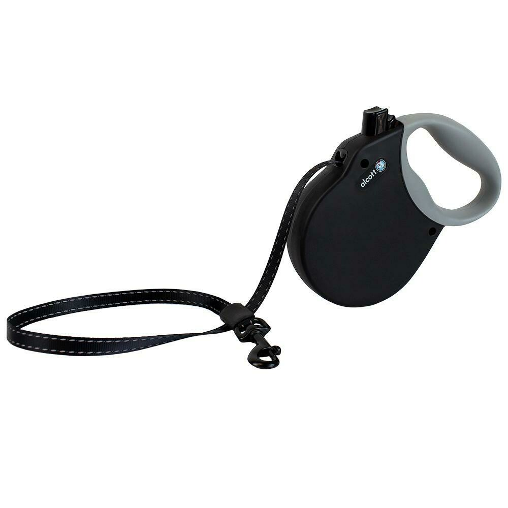 Alcott Large Retractable Reflective Black Leash 16'