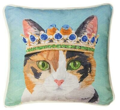Calico Cat In Crown Pillow