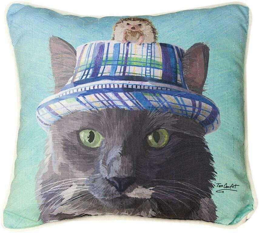 Gray Cat In A Hat....Hedgehog Pillow