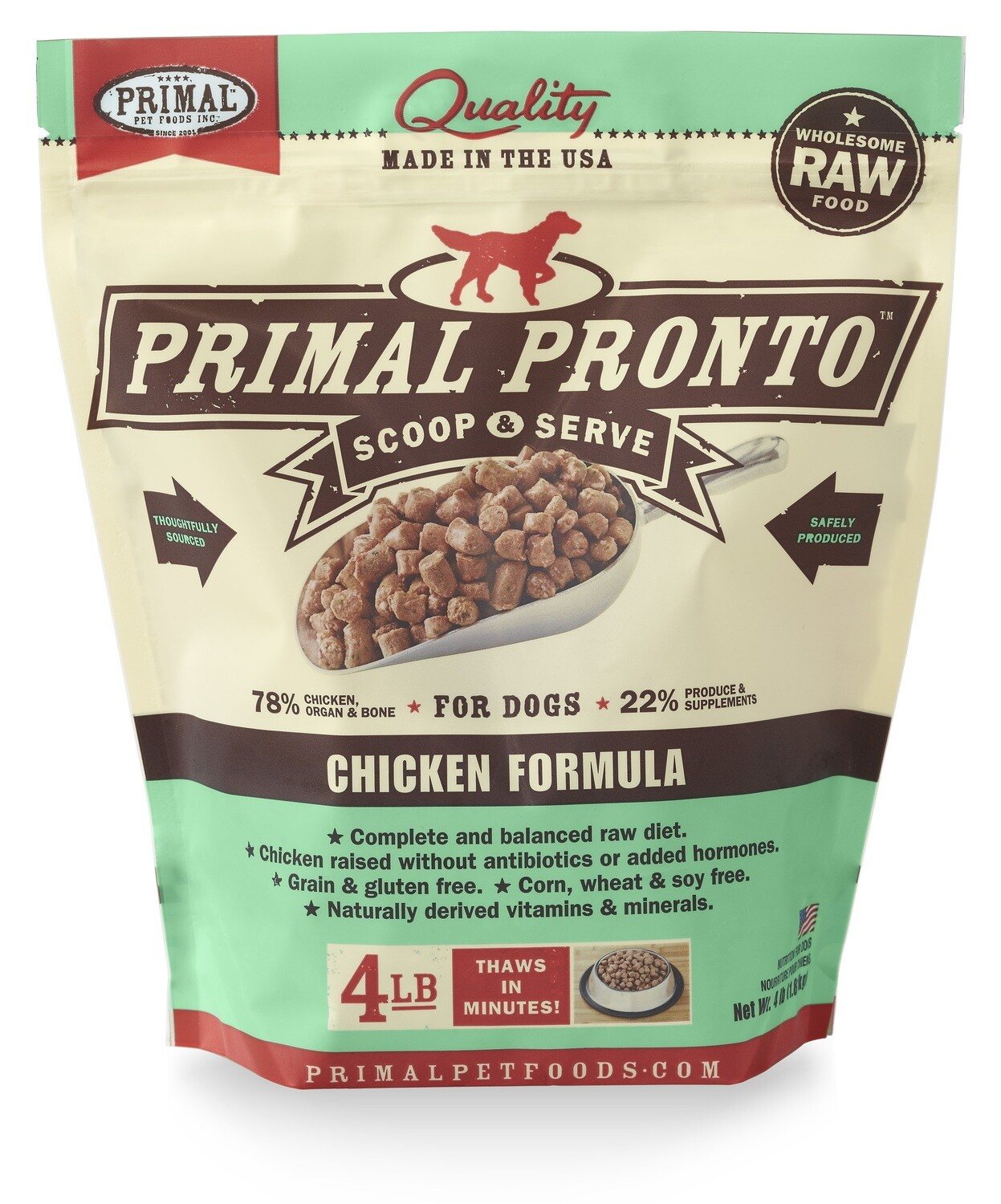 Primal Dog Pronto Frozen Chicken 4lb