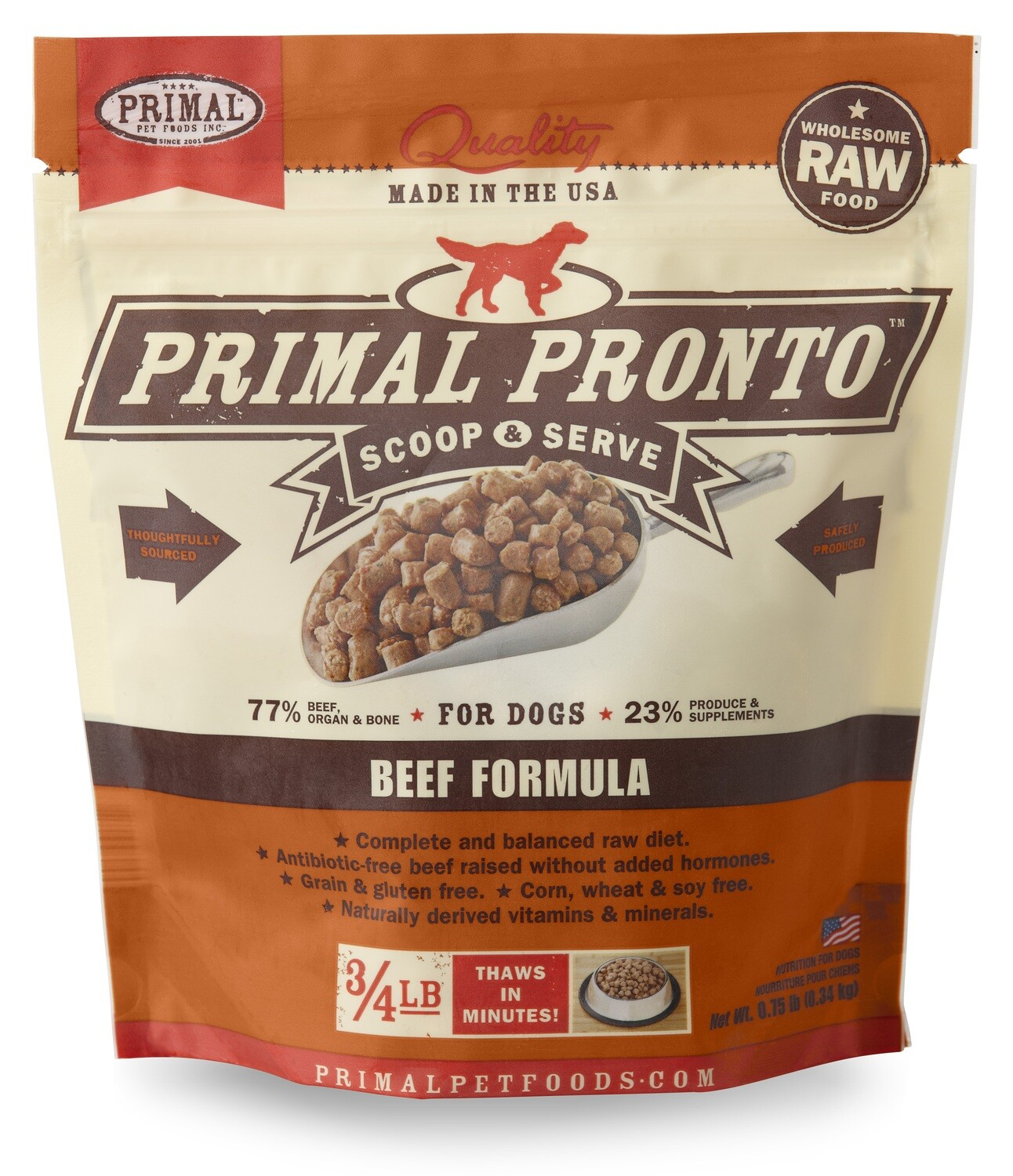 Primal Dog Pronto Scoop & Serve 3/4lb Beef