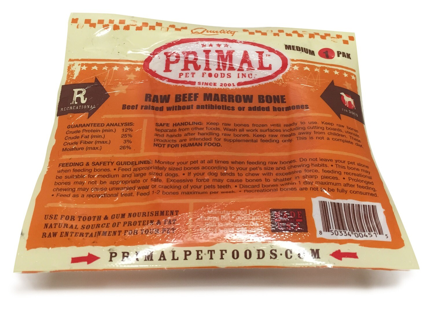 Primal Dog Frozen Beef Bone Single Medium