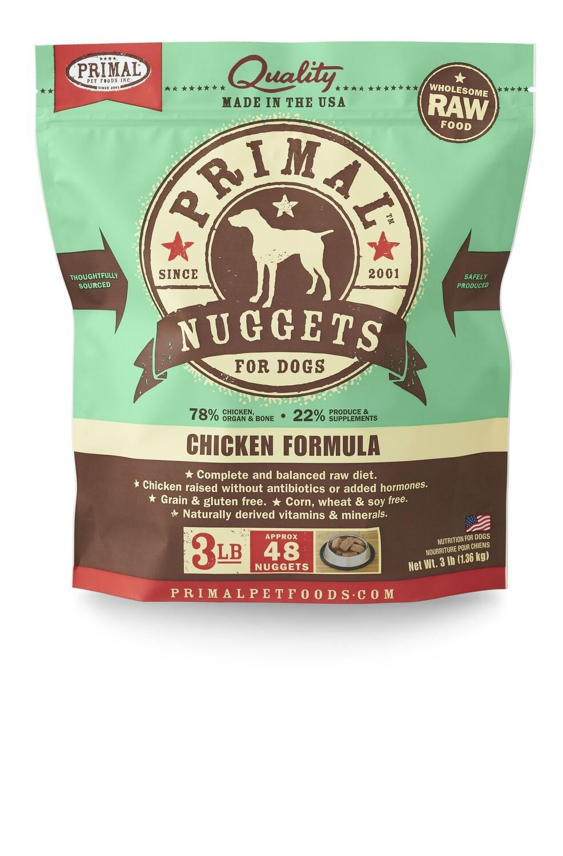 Primal Dog Frozen Nuggets 3lb Chicken