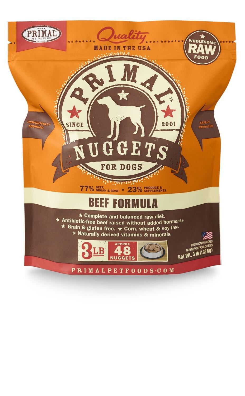 Primal Dog Frozen Nuggets 3lb Beef