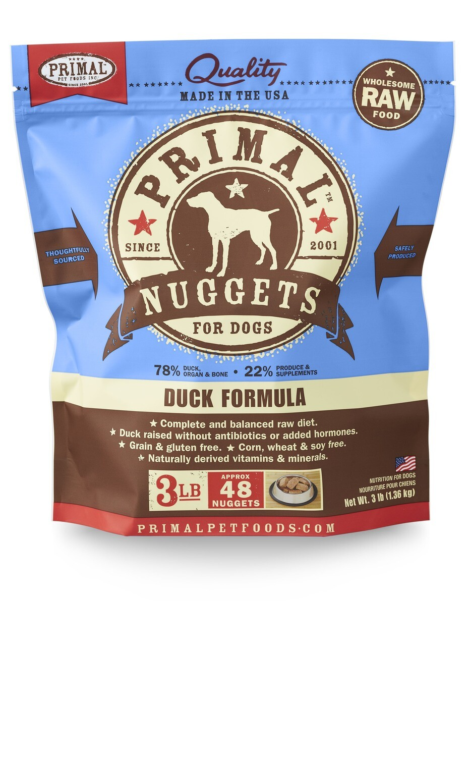 Primal Dog Frozen Nuggets 3lb Duck