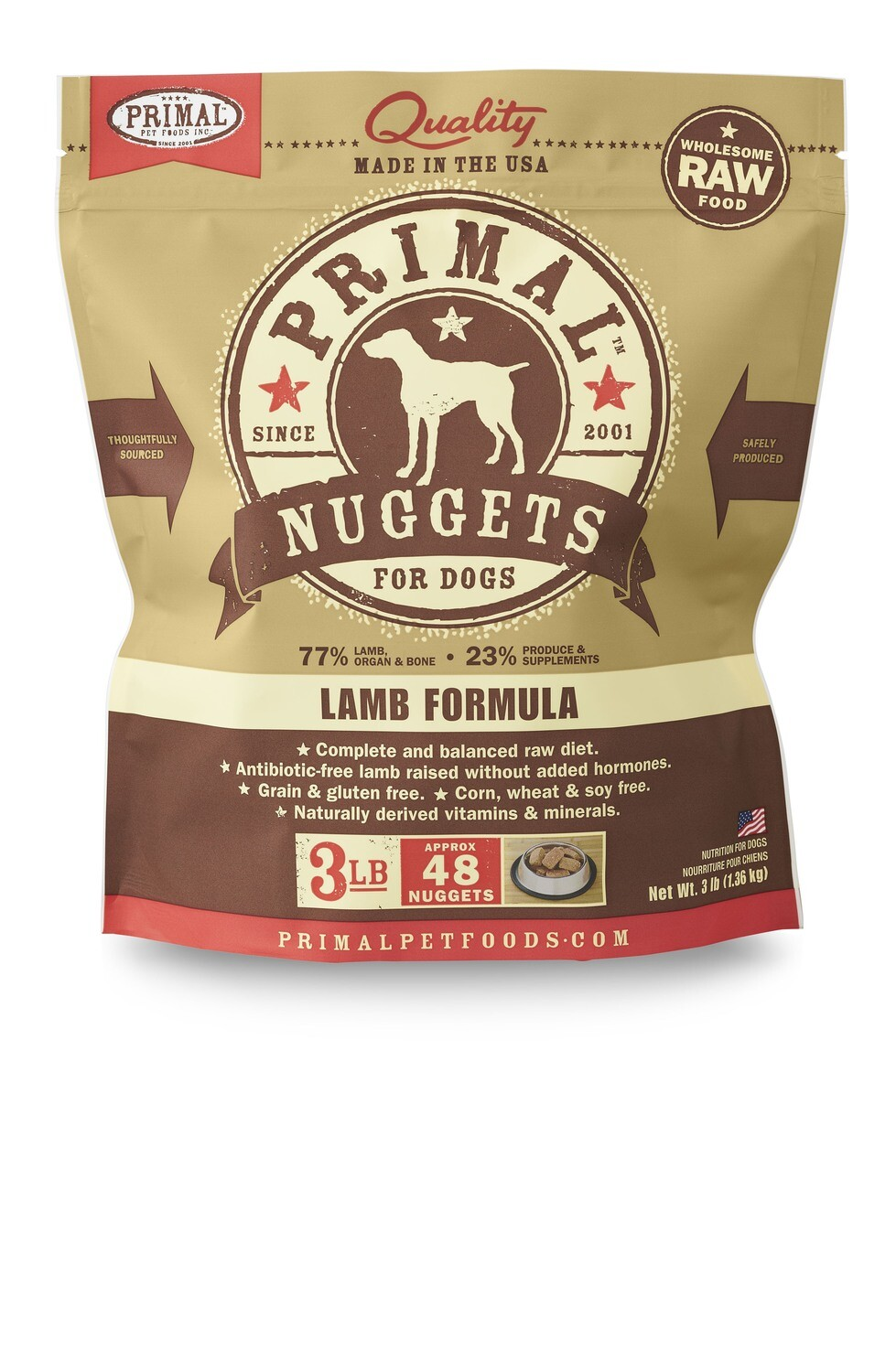 Primal Dog Frozen Nuggets 3lb Lamb