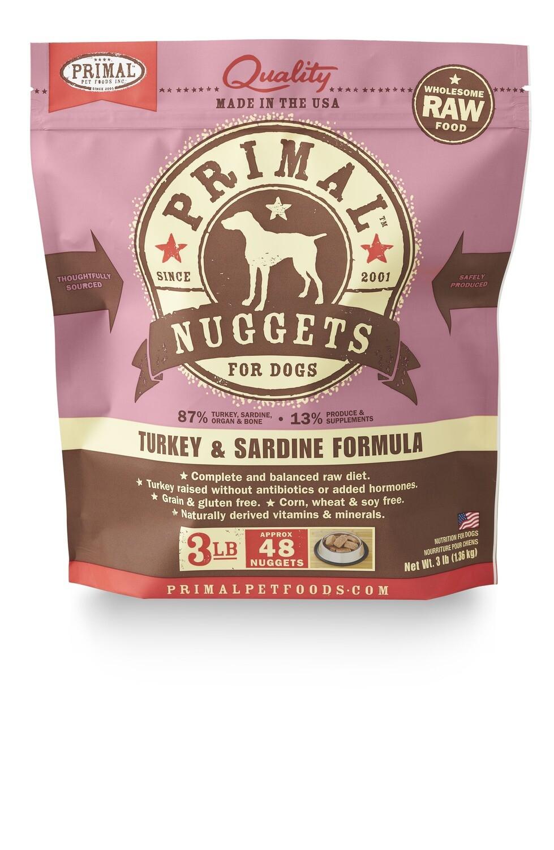 Primal Dog Frozen Nuggets 3lb Turkey& Sardine