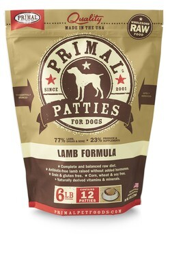 Primal Dog Patties 6lb Lamb