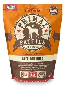 Primal Dog Patties 6lb Beef