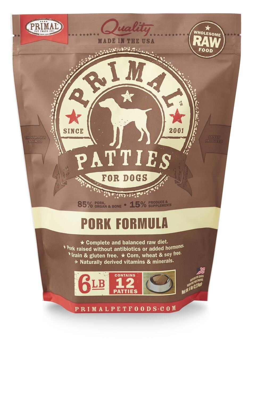 Primal Dog Patties 6lb Pork