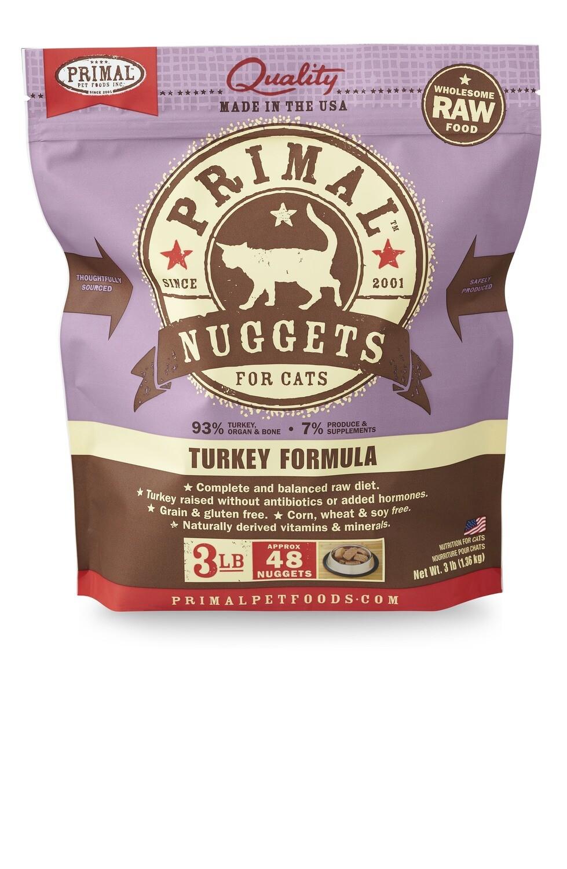 Primal Cat Frozen Nuggets 3lb Turkey