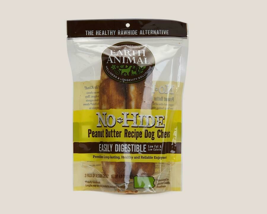 Earth Animal No Hide Chew 2pk Peanut Butter 4 inch