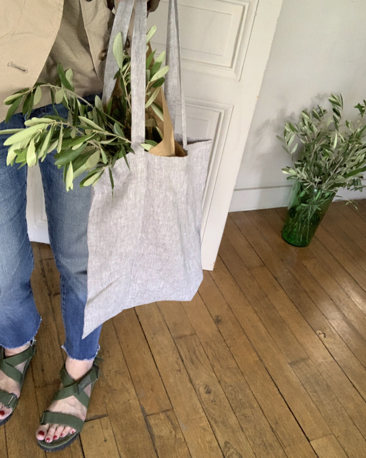 Tote Bag Lin Lavé / Gris Chambray