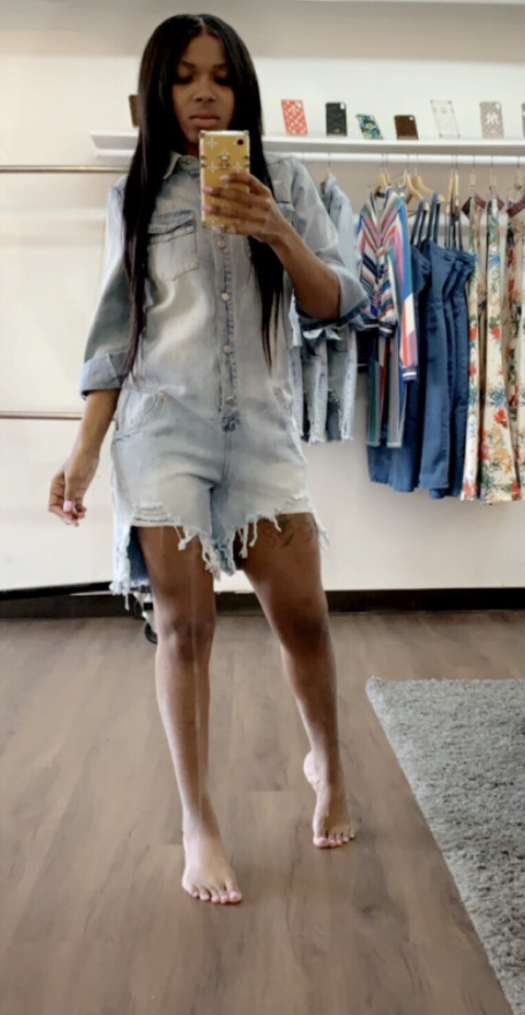 Distressed Denim Romper