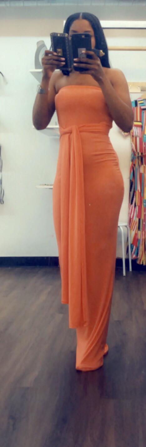 Long Orange Midi Dress With Tie