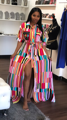 Colorful Stripe Button Up Maxi Dress