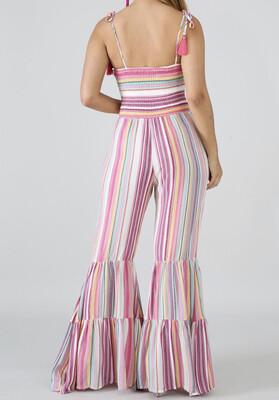 Pink Multi Stripe Bell Bottom Romper