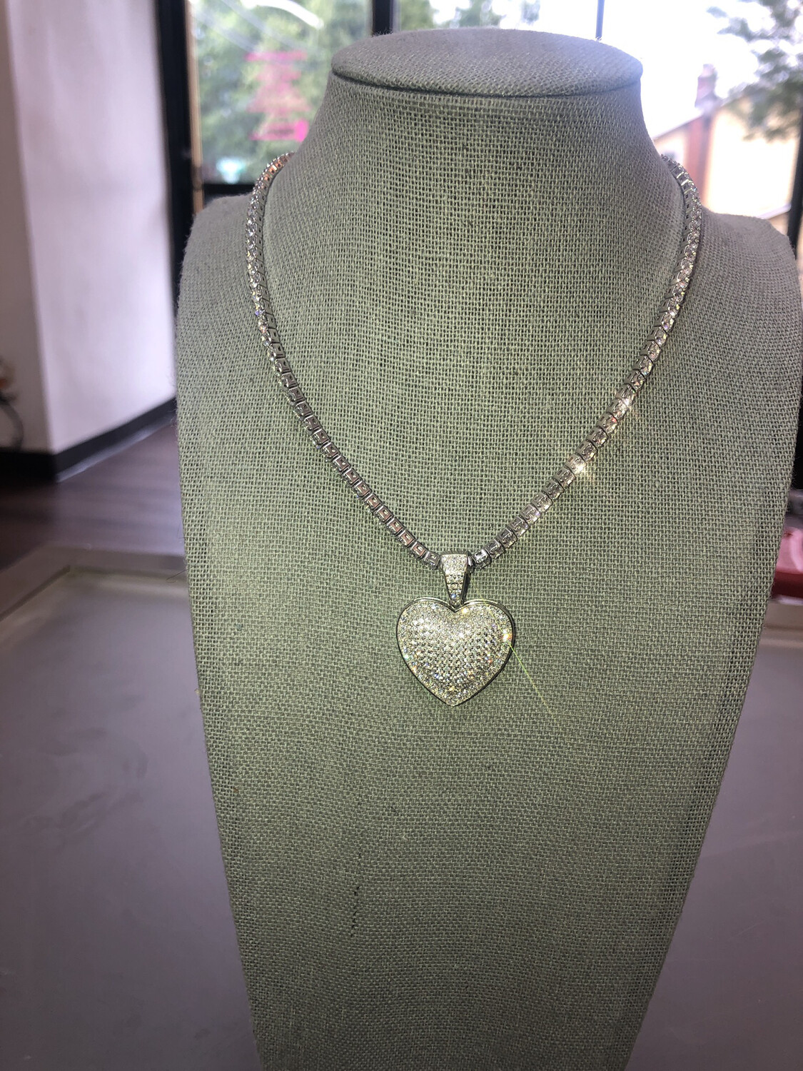 Heart Tennis Necklace