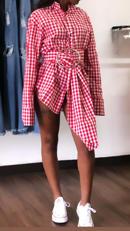 Red Plaid Shirt Dress