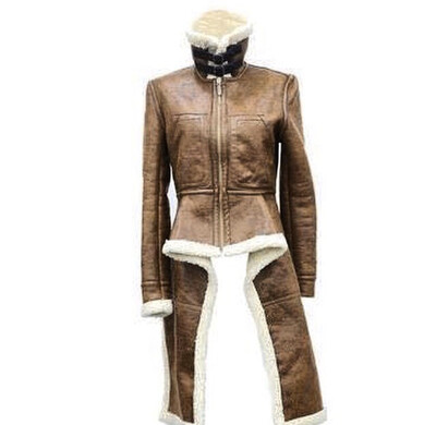 Brown Leather Wool Coat