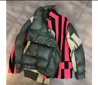 Army Green And Pink Stripe Puffer Jacket