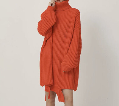 Oversize Turtleneck Sweater Dress