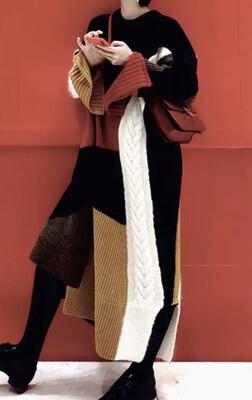 Color block Oversize Sweater Dress