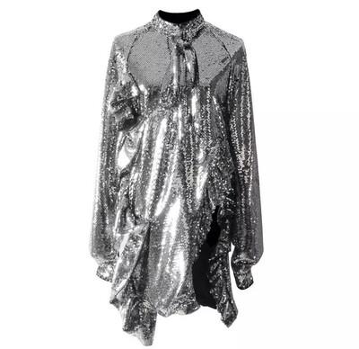 Sequin Side Split Shirt Dress